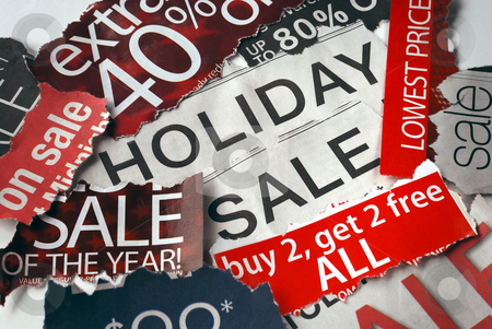 Various holiday on sale signs from the newspapers stock photo, Various holiday on sale signs from the newspapers by johnkwan