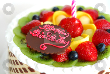 Birthday Cake With Mixed Fruits On The Top Stock Photo
