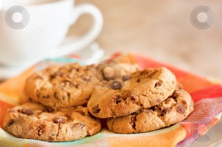 Cookies with chocolate stock photo, Homemade cookies with chocolate and coffee by borojoint