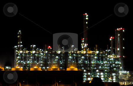 Factory at night. stock photo, Factory at night. by Na8011seeiN