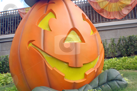 Pumpkin stock photo, A big pumpkin with a happy smiling face by Lucy Clark
