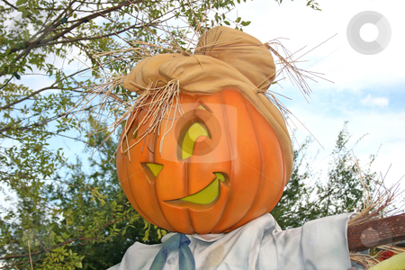 Pumpkin stock photo, A pumpkin head with a funny face and hat by Lucy Clark