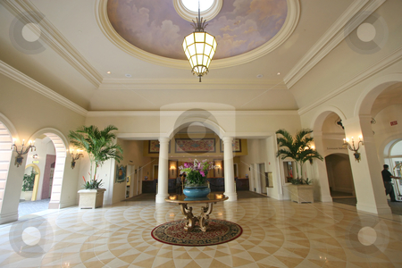 Hotel Lobby stock photo, An interior of a hotel lobby with tile floor. by Lucy Clark