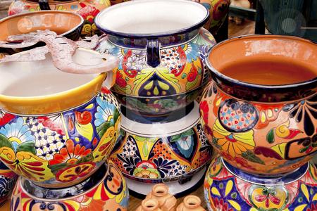 Mexican Colorful Souvenir Ceramic Pots Sedona Arizona stock photo, Meixan Colorful Souvenir Ceramic Pots Sedona Arizona by William Perry
