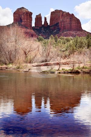 Cathedral Rock Canyon Oak Creek Reflection Sedona Arizona stock photo, Cathedral Red Rock Canyon Oak Creek Green Trees Sedona Arizona by William Perry