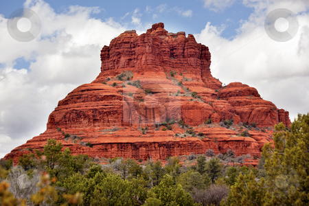 Bell Rock Butte Orange Red Rock Canyon Sedona Arizona stock photo, Bell Rock Butte Orange Red Rock Canyon Blue Cloudy Sky Green Trees Snow Sedona Arizona by William Perry