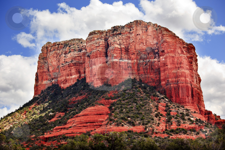 Court House Butte Orange Red Rock Canyon Sedona Arizona stock photo, Court House Butte Orange Red Rock Canyon Green Trees Snow Sedona Arizona by William Perry