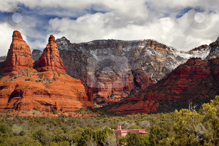 The Nuns Orange Red Rock Canyon Sedona Arizona stock photo, The Nuns Orange Red Rock Canyon House Green Trees Snow Sedona Arizona by William Perry