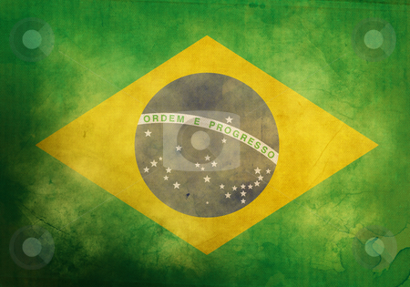 Grunge Brazilian Flag stock photo, Brazilian Flag on old and vintage grunge texture by HypnoCreative