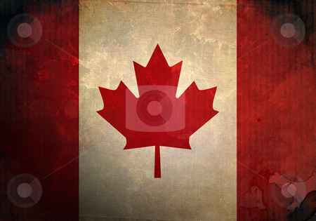 Grunge Canada Flag stock photo, Canada Flag on old and vintage grunge texture by HypnoCreative