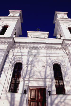 Saint George church. stock photo, Saint George church facade Birzai Lithuania. Religion object. by sauletas