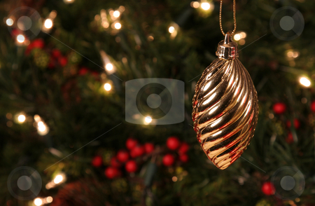 Gold Spiral Ornament stock photo, A Gold Spiral Ornament hanging in front of a Christmas tree.  by Chris Hill