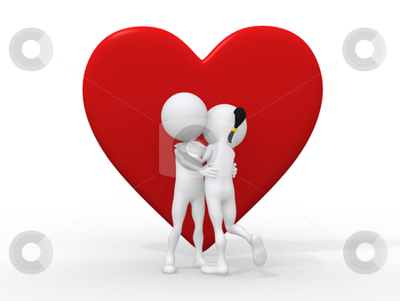 Beautiful 3d love couple embracing against a big red heart on wh stock photo, Beautiful 3d love couple embracing against a big red heart on white background  by dacasdo