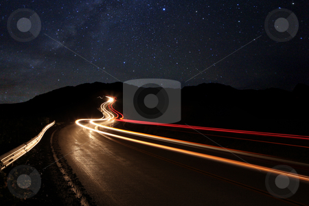 Time Lapse Image of the Night Stars stock photo, Long Exposure Time Lapse Image of the Night Stars by Katrina Brown