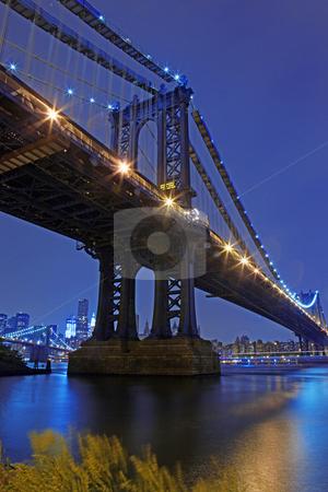 Brooklyn Bridge and Manhattan Skyline At Night NYC stock photo, Brooklyn Bridge and Manhattan Skyline At Night, New York City by Katrina Brown
