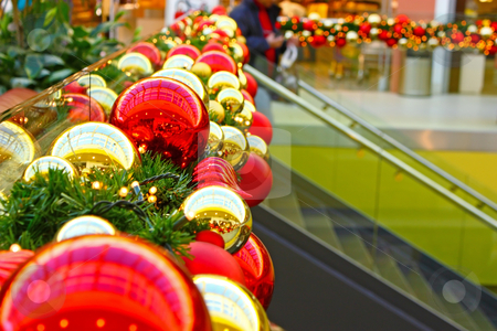 Christmas balls stock photo, Decoration made of christmas balls in shopping mall by Borislav Marinic