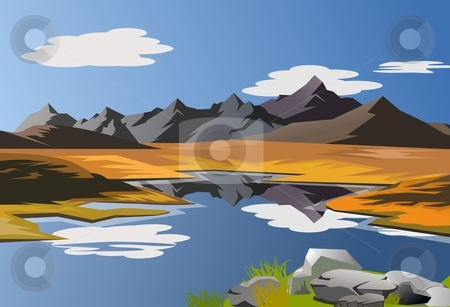 Scenic landscape stock photo, An illustration of scenic landscape with mountains and blue sky by Sreedhar Yedlapati
