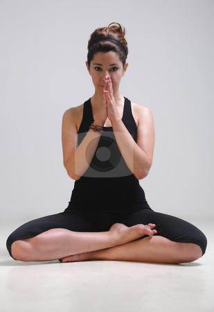 Pretty girl in yoga time stock photo, Pretty girl meditation in yoga meditation moment by Roberto Giobbi