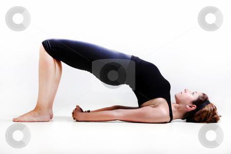 Pretty girl in yoga time stock photo, Pretty girl on white background prectice yoga by Roberto Giobbi
