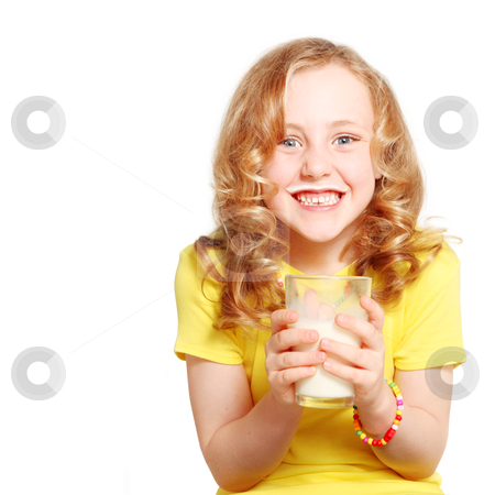 Red headed child drinking milk stock photo, child drinking milk healthy teeth and smiling by mandygodbehear