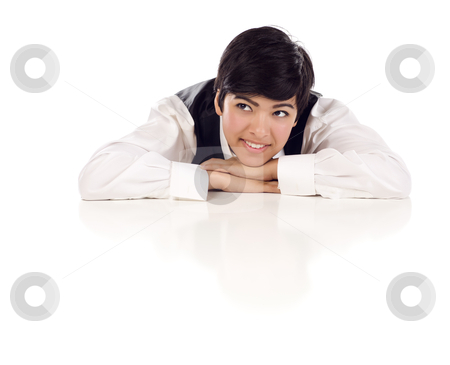 Mixed Race Female At Table Smiling Looking Up and Away stock photo, Attractive Smiling Mixed Race Young Adult Female Looking Up and Away Sitting At White Table Resting Her Head on Her Hands Isolated on a White Background. by Andy Dean