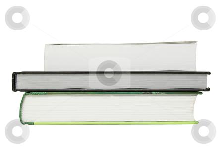 Three books isolated stock photo, Stack of three books isolated on white background by Olena Pupirina