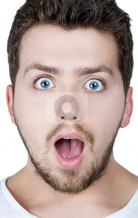 Surprised man stock photo, Young blonde man with blue eyes surprised, isolated by HypnoCreative