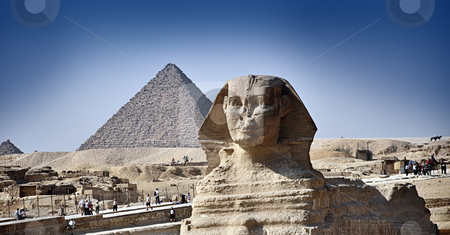 The pyramids and the Great Sphinx of Giza stock photo, The pyramids and the Great Sphinx of Giza, Cairo, egypt by HypnoCreative