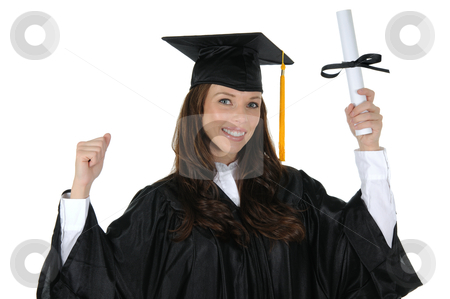 Female Graduate 09 stock photo, A attractive woman graduate wearing a black cap and gown with gold tassel, excited about her bright future. Isolated on a solid white background. by Randall Reed