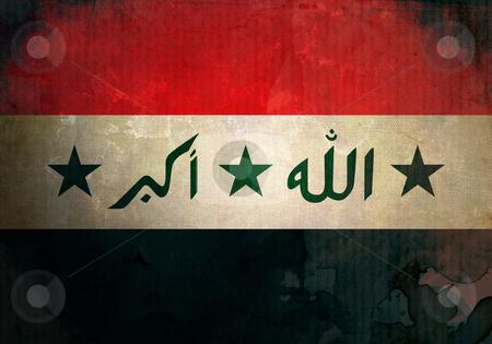 Grunge Iraq Flag stock photo, Iraq flag on old and vintage grunge texture by HypnoCreative