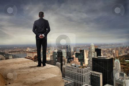 Progress stock photo, Rear view of a businessman on the top of a skyscraper observing a city by olly4