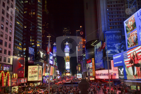 Times Square Lightshow  People Cars New York City Skyline  Night stock photo, Times Square Lightshow, Advertising, Plays, People Cars Crowds New York City Skyline Night by William Perry