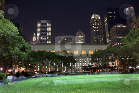 Bryant Park New York City Skyline  Night stock photo, Bryant Park New York City Green Grass Skyline Apartment Buildings Public Library Night by William Perry