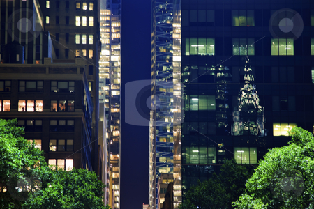 Apartment Buildings Chrysler Refflection Bryant Park New York Ci stock photo, Chrysler Building Reflection, Apartment Buildings Bryant Park New York City Night by William Perry