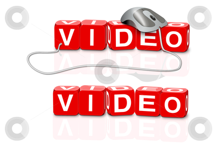 Video download stock photo, red dices spelling the word video with or without mouse by Dirk Ercken