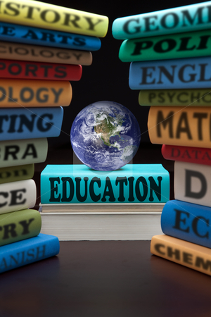 Education study books and apple stock photo, education study books with text learning building knowledge at school with healthy apple by Dirk Ercken