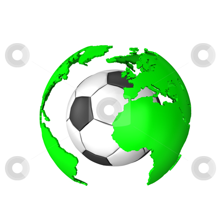 World Of Soccer stock photo, The world of soccer, with globe and football isolated on white. by Alexander Limbach