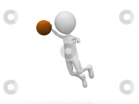 3D playing basketball making a dunk stock photo, 3D playing basketball making a dunk by dacasdo