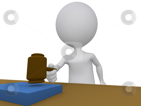 3d judge holding using his gavel stock photo, 3d judge holding using his gavel  by dacasdo
