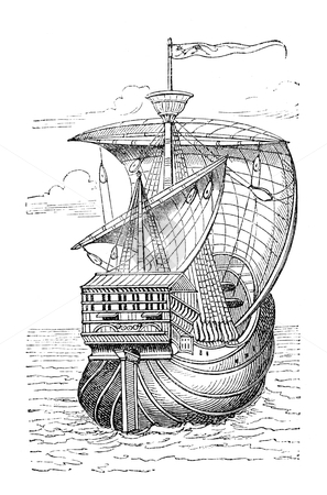 "Columbus ship stock photo, ""Ship of Christopher Columbus"". Print from an old swedish book ""Historisk lasebok"" from 1882 by Stocksnapper"