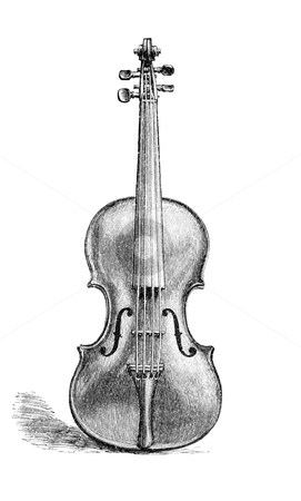 Violin stock photo, Vintage engraved illustration of a violin made by Nicolaus Amati in the 17th century. Originally published in January, 1881 edition of Harper's New Monthly Magazine. The image is currently in public domain by the virtue of age. by Stocksnapper