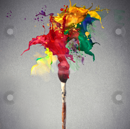 Paint stock photo, Brush full of colored paint by olly4