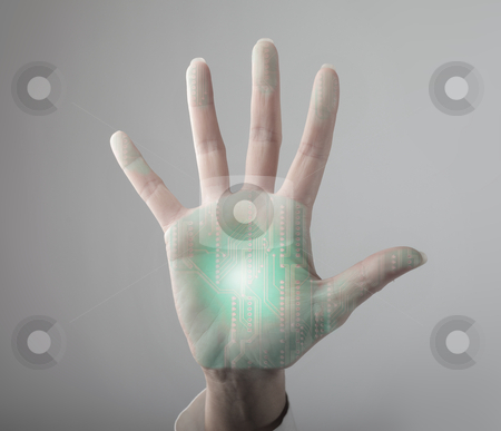 Technology stock photo, Man's hand with microchip in it by olly4