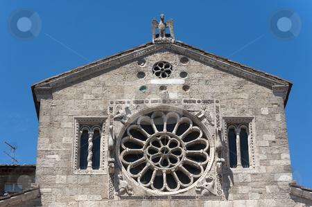 Lugnano in Teverina (Terni, Umbria, Italy): Old church, rose win stock photo, Lugnano in Teverina (Terni, Umbria, Italy) - Santa Maria Assunta, old church by clodio