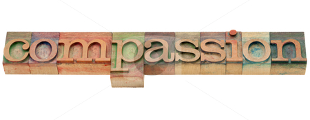 Compassion word stock photo, compassion  - isolated word in vintage wood letterpress printing blocks by Marek Uliasz