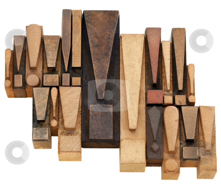 Exclamation point abstract stock photo, warning or alert  concept - a set of exclamation points - vintage wood letterpress printing blocks by Marek Uliasz