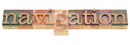 Navigation word in letterpress type stock photo, navigation - isolated word in vintage wood letterpress printing blocks by Marek Uliasz