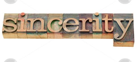 Sincerity word stock photo, sincerity - isolated word in vintage wood letterpress printing blocks by Marek Uliasz