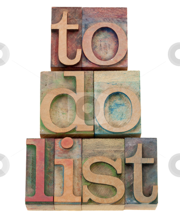 To do list headline in letterpress type stock photo, to do list - task management concept - isolated text in vintage wood letterpress printing blocks by Marek Uliasz