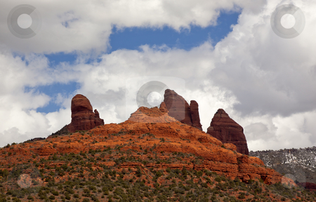 Snoopy Rock Butte Orange Red Rock Canyon Sedona Arizona stock photo, Snoopy Rock Butte Orange Red Rock Canyon Blue Cloudy Sky Green Trees Sedona Arizona by William Perry
